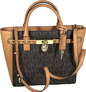 Women's Hamilton Traveler STUDDED Large TOTE Leather Handbag (Brown/Acorn)