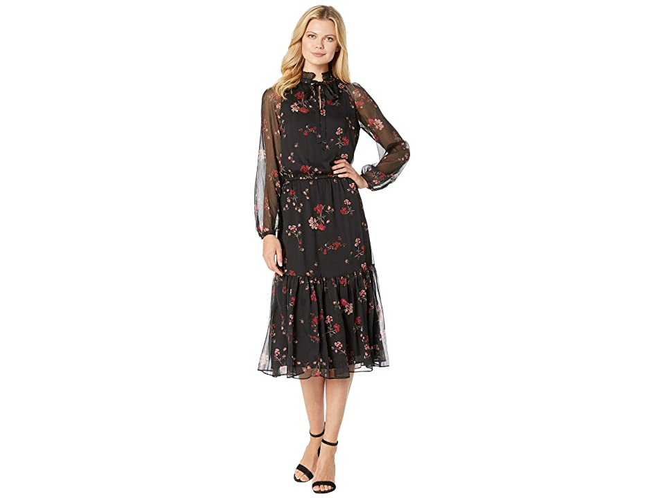 LAUREN Ralph Lauren Floral Georgette Dress (Black Multi) Women