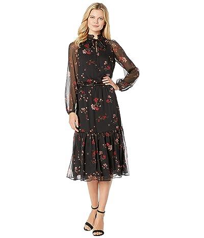 LAUREN Ralph Lauren Floral Georgette Dress (Black Multi) Women