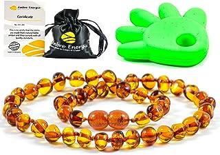 Collier Ambre 33cm. - 100% Plus Haute Qualité Certifié l'Ambre la Baltique Authentique Collier Perles de Plus Gros!! / Gar...