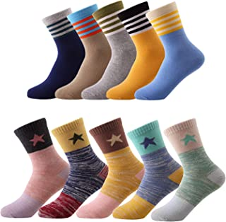 10 Pairs Kids Boys Girls Colorful Fashion Cotton Crew Socks