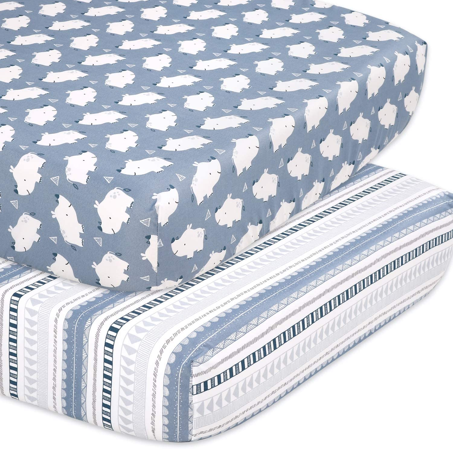 The Peanutshell Rhino Fitted Crib Sheet Set for Baby Boys or Girls, 2 Pack Unisex Set