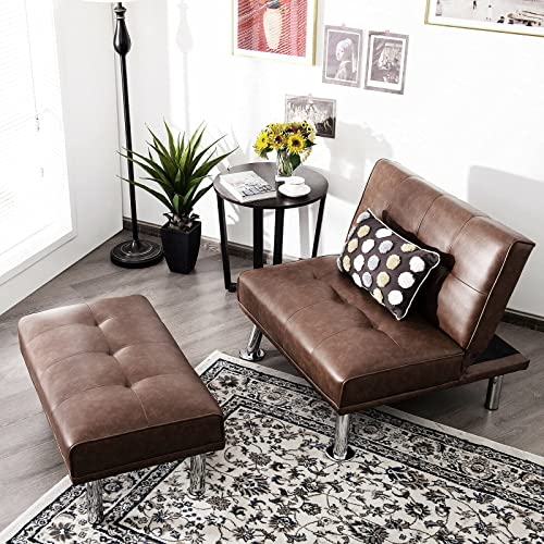 popular Giantex Convertible Single Sofa with Ottoman Modern wholesale Futon and Couch Set with Footrest Living Room Furniture Tufted Chaise Lounge Sleeper for Apartment outlet online sale (Brown) outlet sale