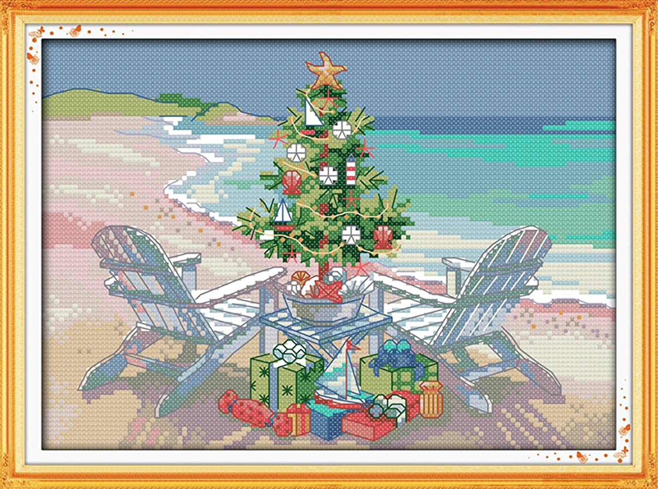 YEESAM ART New Cross Stitch Kits Advanced Patterns for Beginners Kids Adults - Christmas Tree 11 CT Stamped 38×27 cm - DIY Needlework Wedding Christmas Gifts