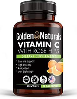 Golden Naturals Vitamin C with All Natural Rose Hips, 1000mg, Immune Boosting Support and Powerful Antioxidant, High Absor...
