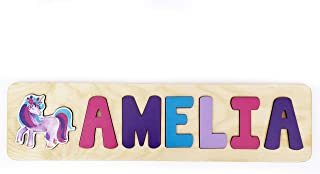 Wooden Name Puzzle With Unicorn- Personalized Toddler Gift- Made in the USA