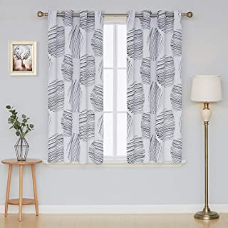 Deconovo Blackout Curtains Thermal Insulated Panels Window Grommet Curtains Circlr Printed Drapes for Living Room 52 x 54 Inch White 2 Panels
