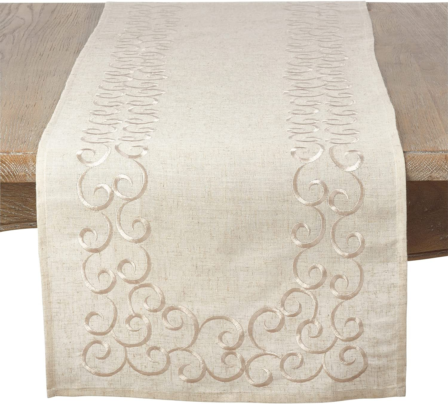 Fennco Max 87% OFF Styles Classic Embroidery Max 52% OFF Scroll Blend Linen 16 Border x