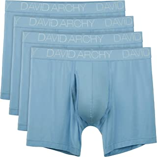 David Archy Men's Breathable Bamboo Rayon Boxer Briefs with Fly in 3 or 4 Pack