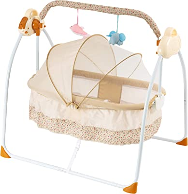 Baby Bassinet - Bedside Crib Adjustable Easy to Assemble Bassinet for Baby with Breathable Net and Mattresses Portable Crib Silent Gliding Motion Soothes Rocking Baby Chair Bassinet for Baby(Khaki)