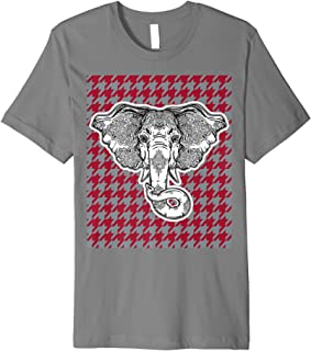 Houndstooth Alabama Crimson and Gray with Elephant Football