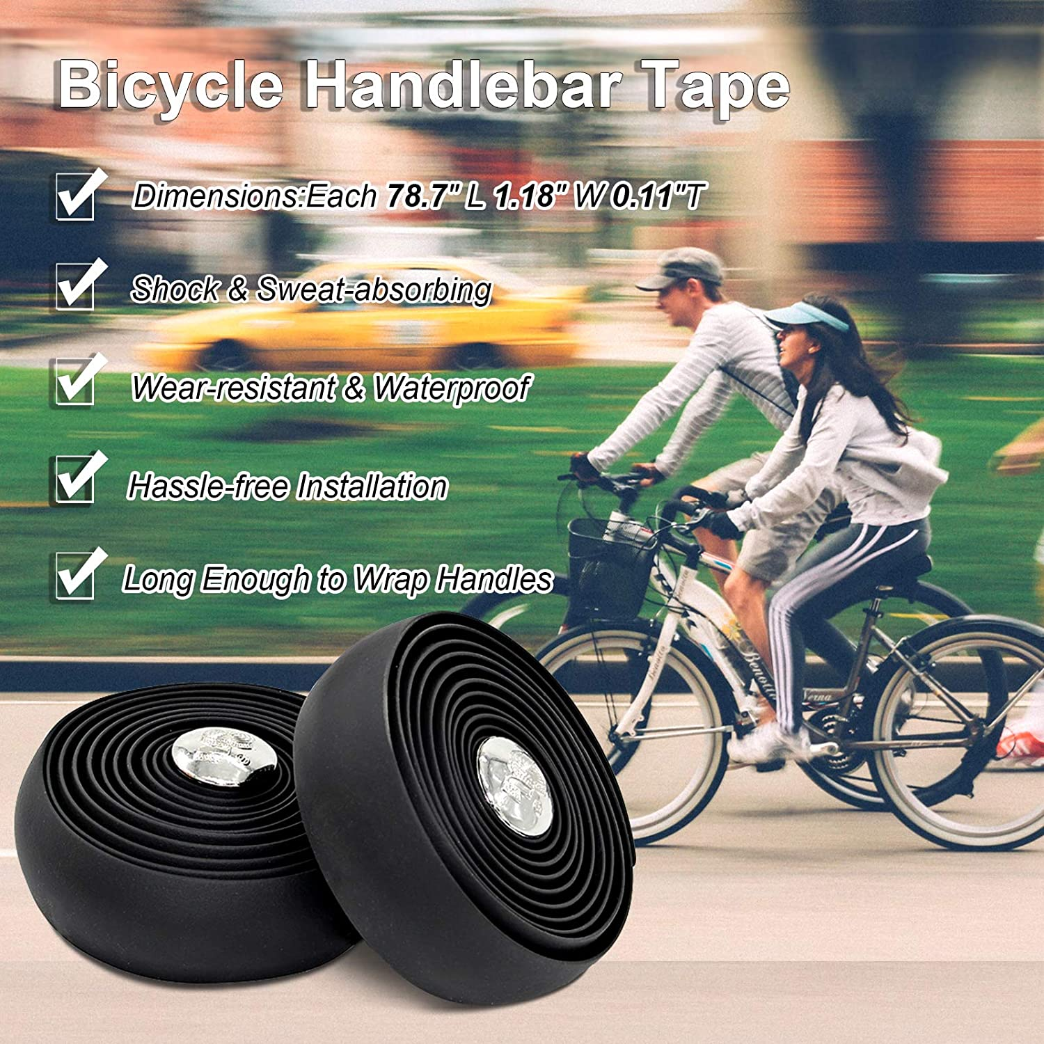 EUGO Road Bicycle Bar Tapes EVA Cycling Handle Wraps Black Sticky Bike Handlebar Tapes with Bar End Plugs and Finishing Adhesive Tapes for Shock/&Sweat Absorbing 2 Rolls