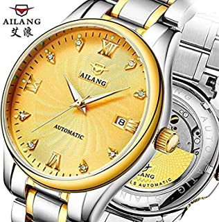 WhatsWatch AILANG Luxury Mens wristwatches Automatic Mechanical Business Man Watches Calendar Waterproof 316L Stainless Steel Gold