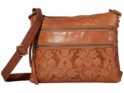 The Sak Reseda Leather Crossbody (Tobacco Floral Embossed) Cross Body Handbags