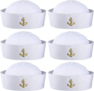 Boao 6 Pieces Halloween White Sailor Hat Captain Caps Yacht Nautical Hats for Adult Sailor Costume, Dress Up Party Hats