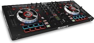 Numark Mixtrack Platinum - Controlador de DJ de 4 Decks con Pantallas LCD Integradas, Jog Wheels Metálicos de 5 Pulgadas con Sensibilidad Táctil, más Serato DJ Lite y Prime Loops Remix Tool Kit