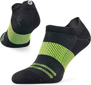 Agile - Calcetines de running ultraligeros para hombre y mujer, delgados, corte de tobillo, soporte de arco, 100% reciclado, antiolor (1 par), M (US Women 7-8 / US Men 5.5-6.5 ), Negro/Lime