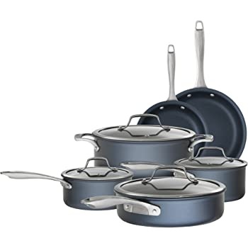 Bialetti Sapphire 10 piece Nonstick Hard Anodized Cookware Set-Induction Compatible, Dishwasher Safe, Dark Blue