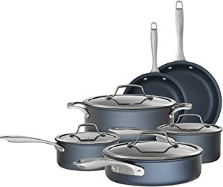 Bialetti 7466 Sapphire 10 piece Nonstick Hard Anodized Cookware Set-Induction Compatible, Dishwasher Safe, Dark Blue
