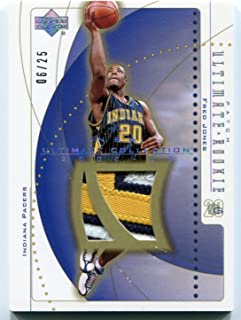 2002-03 Upper Deck Ultimate Collection Patch Parallel FRED JONES Rare 3 Color Rookie Worn Patch Card Serial Numbered #06/25 SP RC Indiana Pacers Oregon Ducks