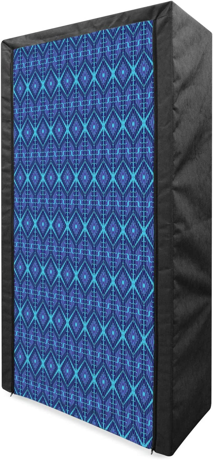 Lunarable Cyan Price reduction Portable Fabric Wardrobe with Repetitive Outlet SALE Pattern
