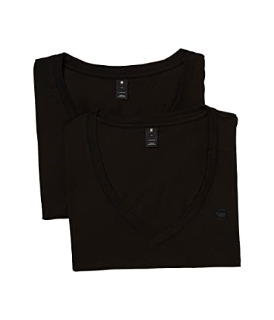 G-Star Base htr v t ss 2-pack (Solid Black) Men