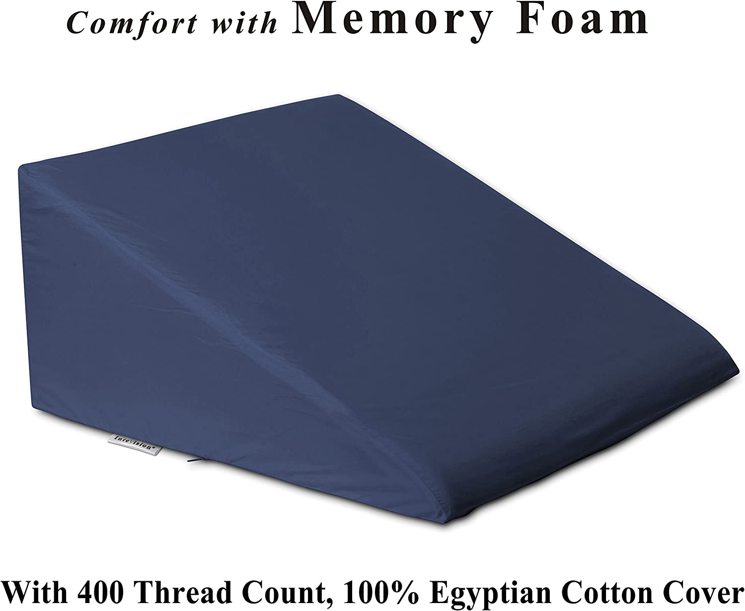 InteVision Foam Bed Wedge Pillow (25  x 24  x 12 ) - 2  Memory Foam Top Layer with Firm Base Foam and a 400 Thread Count, 100% Egyptian Cotton Cover - Helps Relief from Acid Reflux, Post Surgery