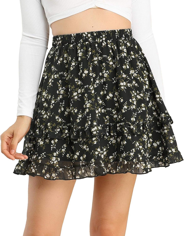 Allegra K Women's Floral Ruffle Layered Mini Skirt Chiffon Summer A-Line Skirts