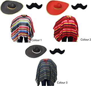 Adult Mexican Costume Kit Including Poncho, Moustache Sombrero Hat - Amigo, Fancy Dress, Costume, Dress up, Production