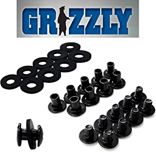 Black Chicago Screws, 1/4 Inch, 50 Pack- For Leather/Kydex Gun Holsters/Clips and Knife Sheaths, Phillips Truss Heads and Open Slotted Fasteners with Rubber Washers/Spacers