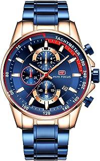 MINI FOCUS Men's Luxury Quartz Watches Stainless Steel Strap Chronograph Waterproof Business Wristwatch Man Blue