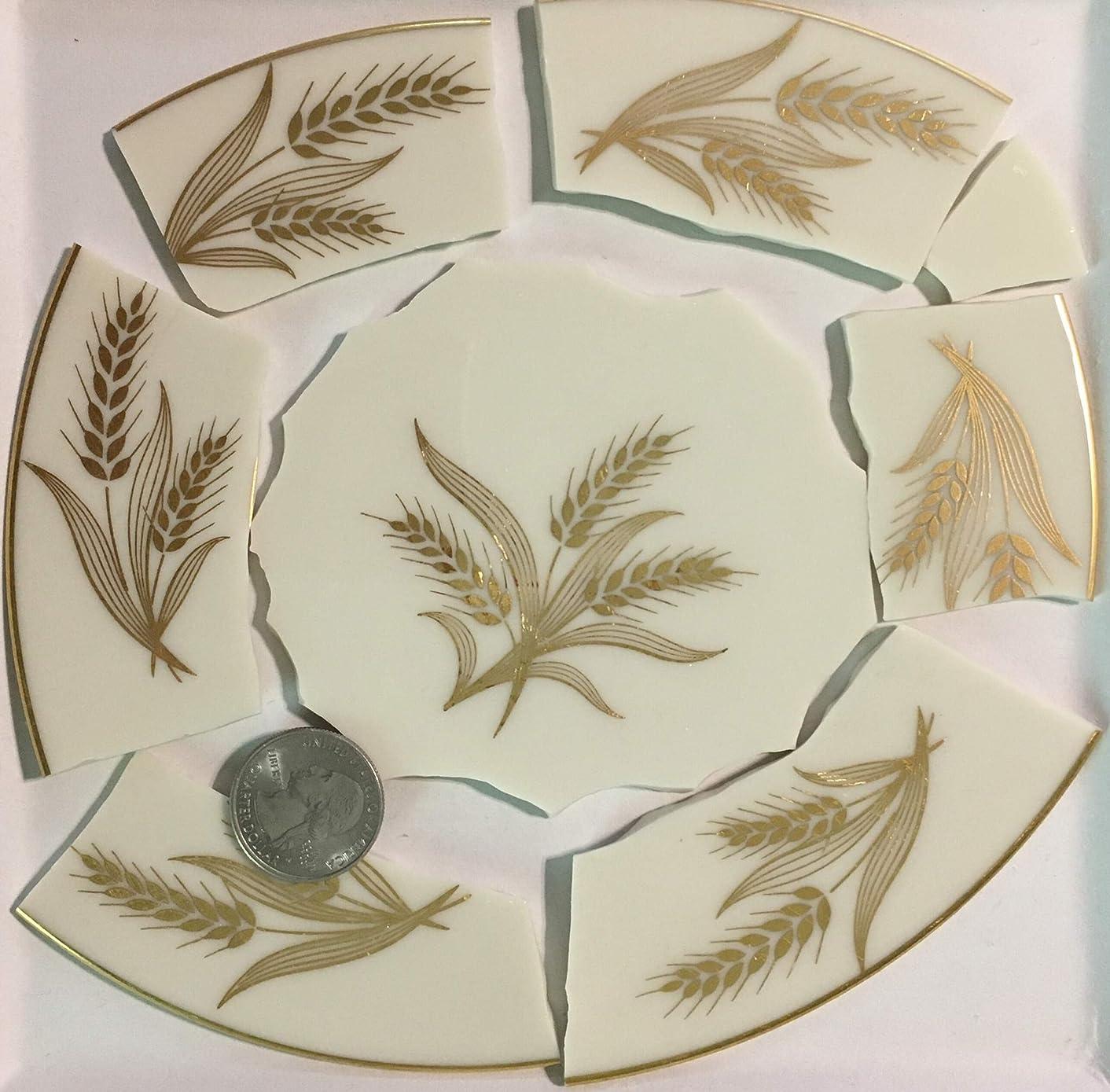 Mosaic Art & Crafts Supply ~ Metallic Gold Wheat Design Cream White China Tiles (B887)