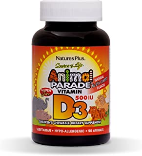NaturesPlus Animal Parade Source of Life Chewable Vitamin D3 for Children - 500 iu - 90 Animal Shaped Tablets - Black Cher...