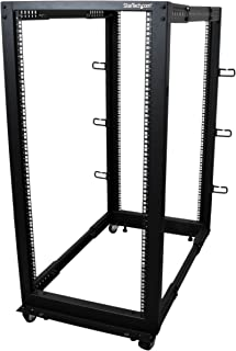 "StarTech.com 25U Open Frame Server Rack - 4 Post Adjustable Depth (22"" to 40"") Network Equipment Rack w/ Casters/ Levelers/ Cable Management (4POSTRACK25U),Black"