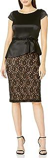 S.L. Fashions Women's Sequin Lace Bead Waist Peplum