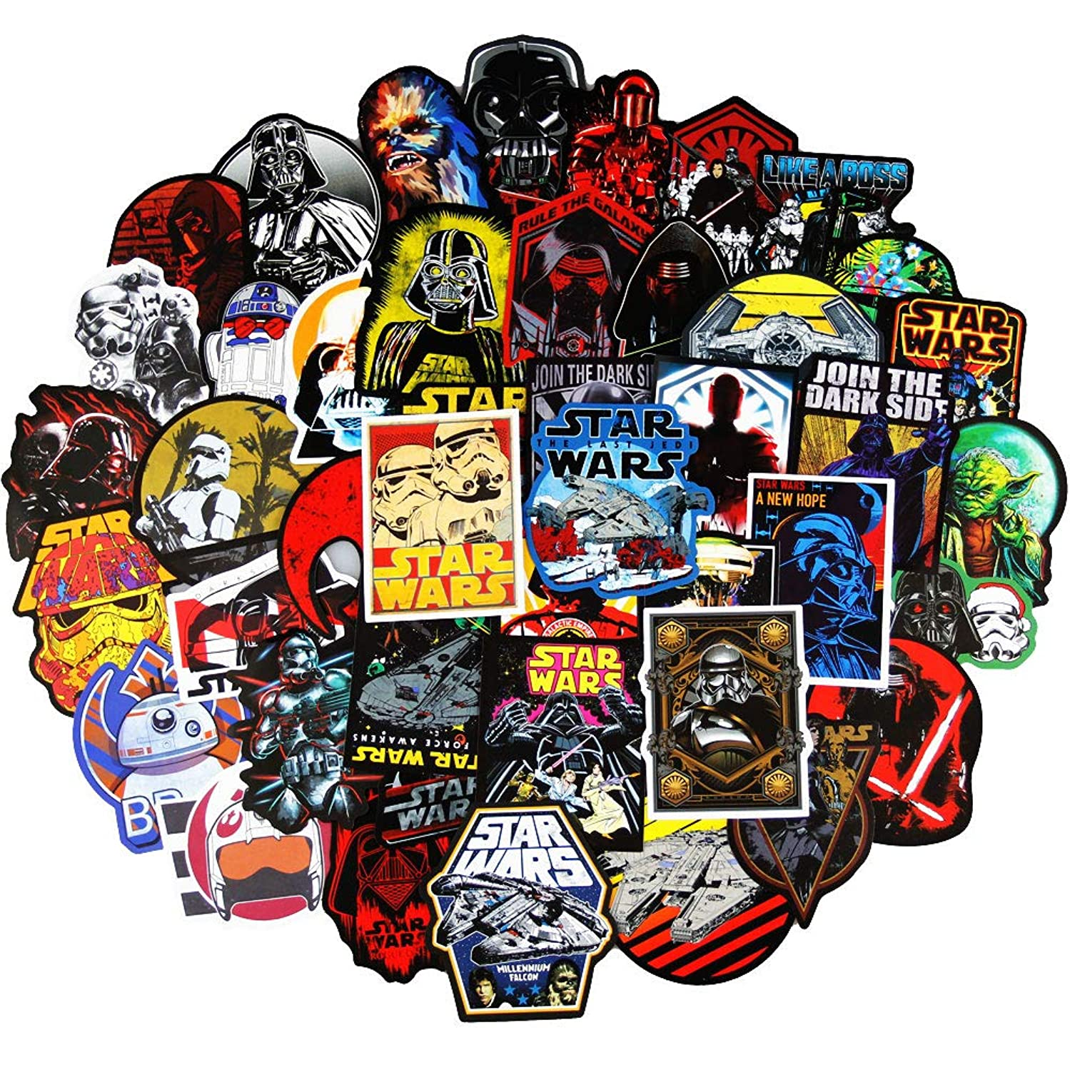 Jedi Knight Stickers Pack for Star Wars(104Pcs),Cool Movie Decals for Water Bottle Guitar Skateboard Hydro Flask MacBook Computer Car,Party Supplies for Adults,Teens,Boys and Girls