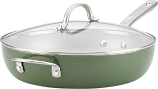 Ayesha Home Collection Porcelain Enamel Nonstick Covered Deep Skillet With Helper Handle, 12-Inch with Lid, Basil Green - 10380