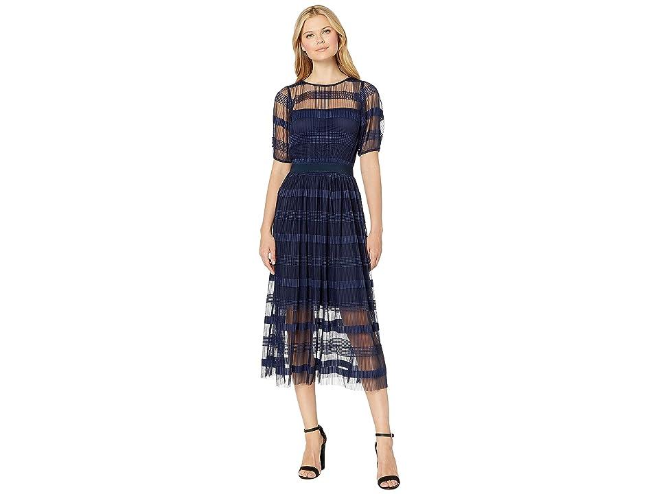eci Pleated Maxi Dress w/ Short Sleeve (Navy) Women