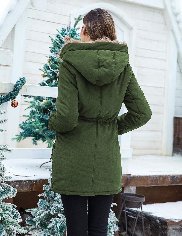 Unibelle Damen Winter Mantel Winterparka Wärme Winterjacke lang Jacke mit Fell Kragen Dunkelgrün