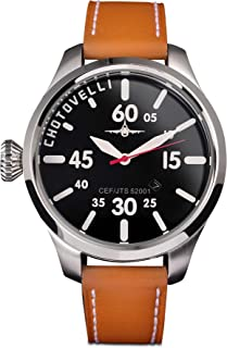 Chotovelli Aviator Pilot Mens Watch- Sapphire Crystal, Tan Italian leather Strap 52.51