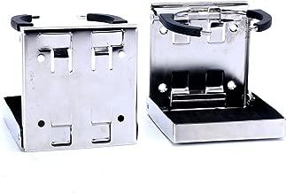 Amarine Made 2pcs Stainless Steel Adjustable Folding Drink Holders Marine/Boat/Caravan/car