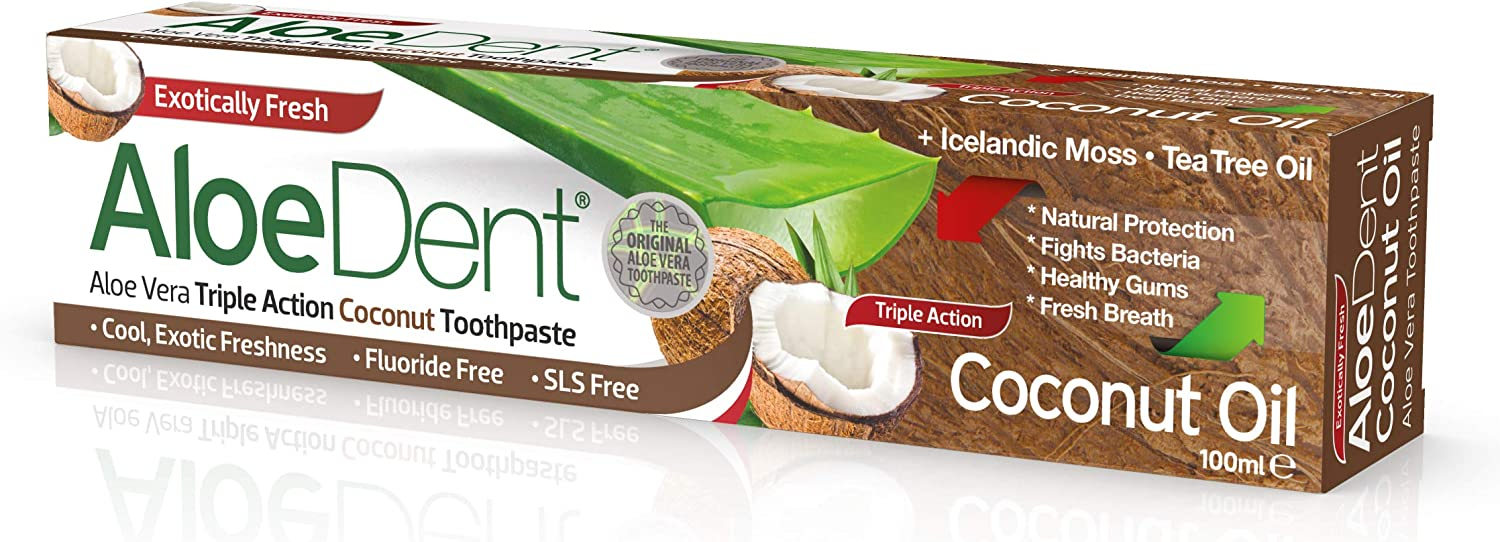 AloeDent Coconut Fees free!! Oil Action Triple service Toothpaste