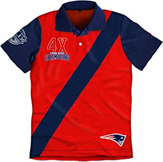New England Patriots Super Bowl XLIX 49 Champions 4X Commerative Rugby Short Sleeve Polo Shirt (2X)