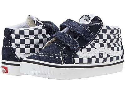Vans Kids Sk8-Mid Reissue V (Infant/Toddler) ((Checkerboard) India Ink/True White) Boys Shoes