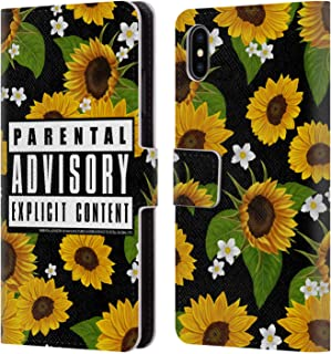Official Parental Advisory Sunflowers Urban Street Style Leather Book Wallet Case Cover Compatible for iPhone Xs Max