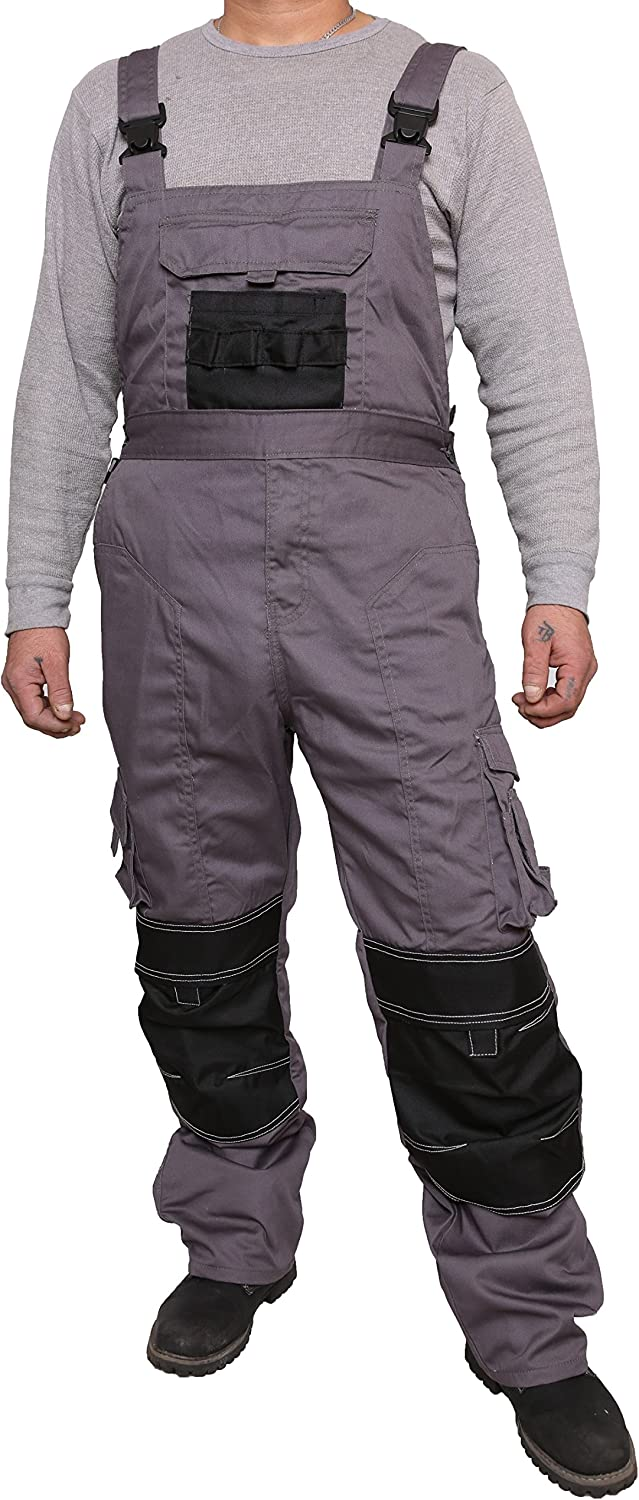 Bib and Brace Overalls Heavy Duty Work Trousers Dungaress 4 Colours Pockets
