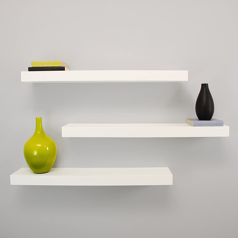 Kieragrace Kiera Grace Maine Wall Shelf, 24-Inch, Pack of 3, White,