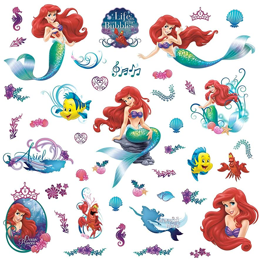 断片規制悲しいRoomMates rmk2347scs The Little Mermaidピールとスティック壁デカール、1パック