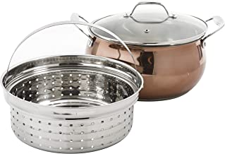 Oster Carabello 6.9 Qt Copper Colored Stainless Steel Dutch Oven, W/Lid & Steamer Insert, with Tempered Glass Lids