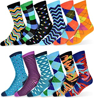 Mens Fun Funky and Colorful Patterned Dress Socks with Cool and Crazy Designs -12 Pack